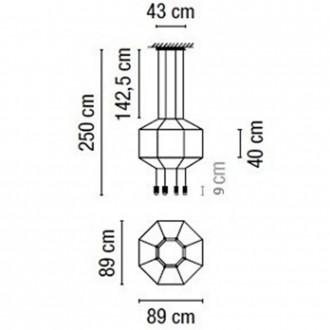 Lampada a sospensione Vibia Wireflow 8 luci (Diffusore senza vetro pressato) TITOLO DUPLICATO 2