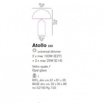 Lampada da tavolo vetro murano Oluce Atollo